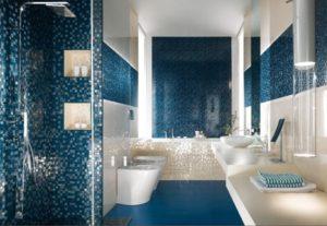Decent bathroom walls, floors and tile decor.
