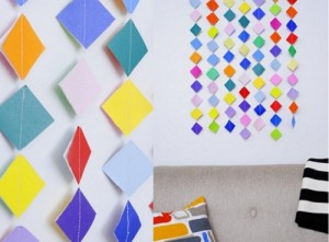 Folded paper square wall arts for home interior decoration ideas.