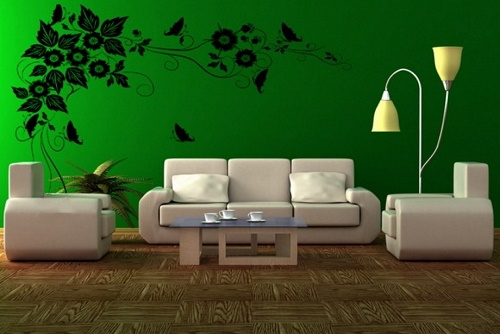 Green home interior design for living room.