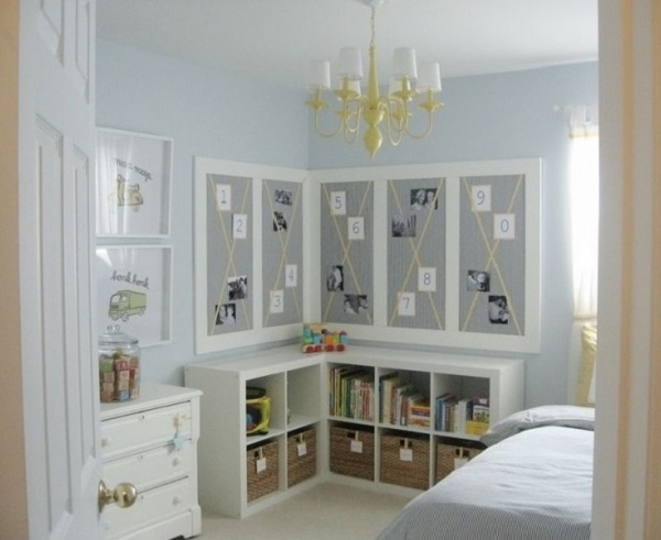 Light blue bedroom design, decor for teenage and little boy room