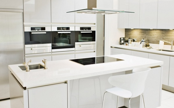 White kitchen with chimney covered