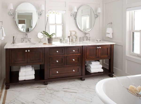Wood cabinets for bathroom decor