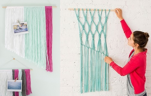 Yarn Wall Hanging for DIY wall art home decor ideas.