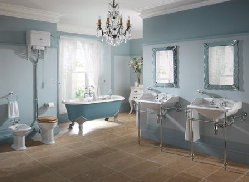 Blue luxury bathroom design photo by homedecorbuzz