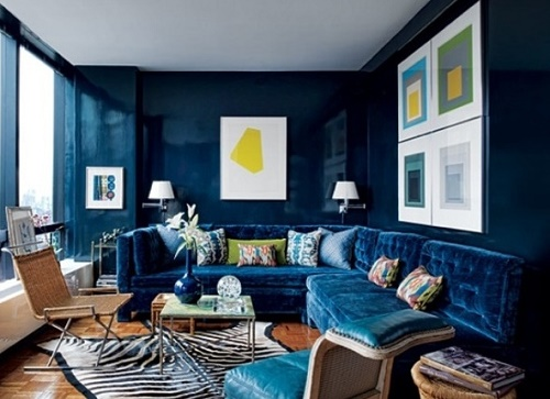 Delft blue living room interior design.