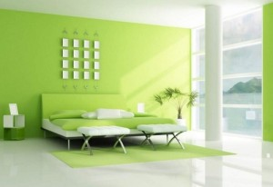 Fresh lime color theme bedroom design.
