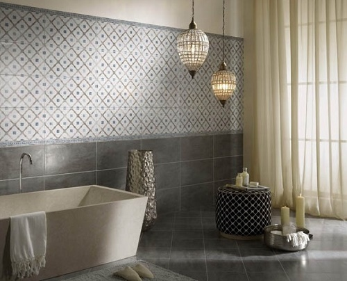 Geometric tiles useful in bathroom remodeling.