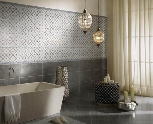 Geometric tiles useful in bathroom remodeling.
