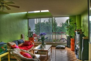 Greenery helps to create attractive living room design.