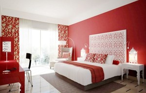 Lovely red bedroom interior design for couples.