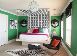 Pleasant green bedroom design for couple