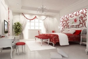Romantic white bedroom interior design.