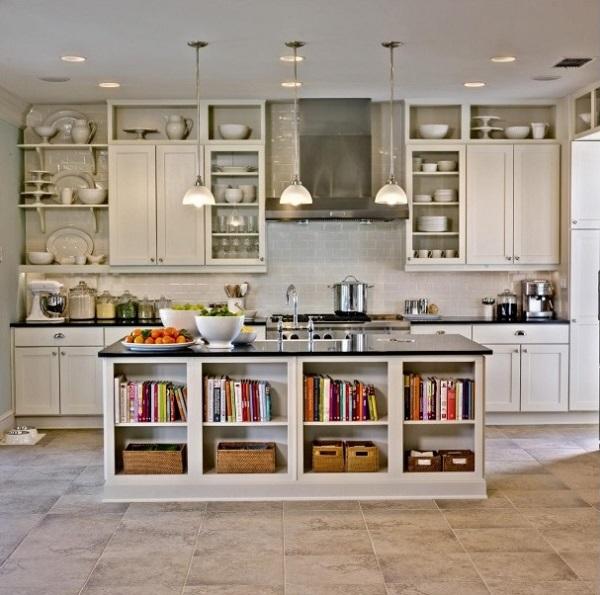 Storage kitchen island for keeping books