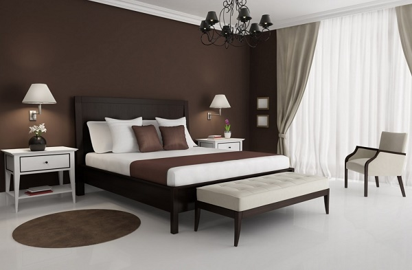 White and brown bedroom interior design.