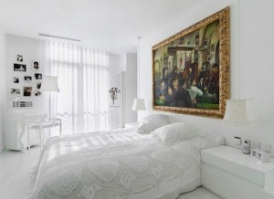 White bedroom wall arts & textile design.