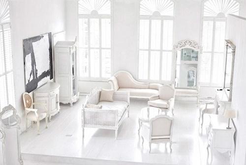 White paint color theme room decor.