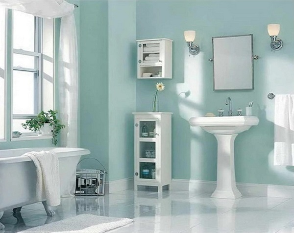 White wooden shelves for keeping amenities in bathroom