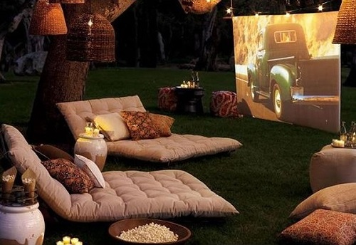 A backyard cinema for home.