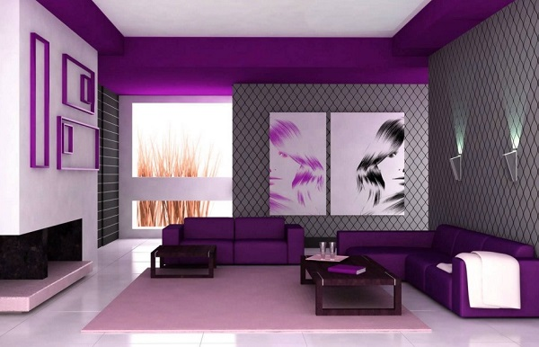 Amazing purple color living room interior.