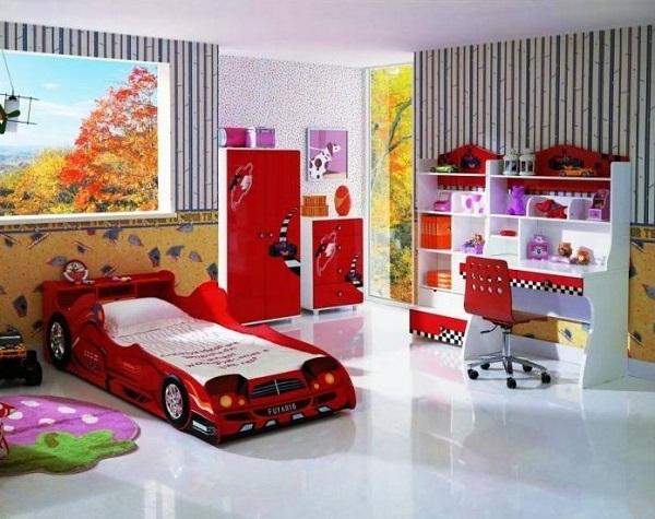 Beautiful red bedroom design for kids