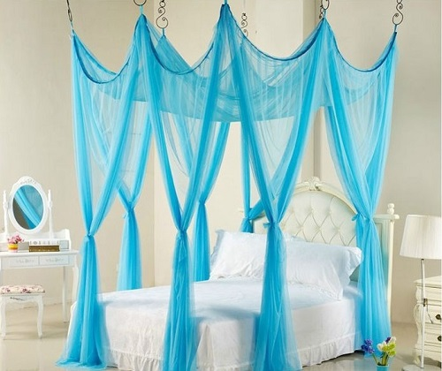 Classical blue net for bedroom interior decor.