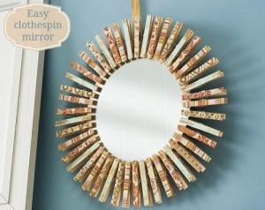 Clothespin mirror for adults bedroom decoration.