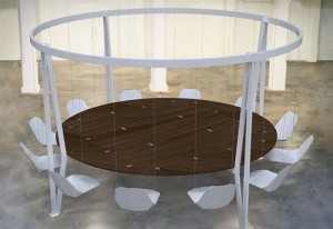 Dining table that swing