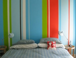 Rainbow color bedroom decor for adults.