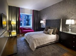 Black-grey color romantic bedroom design