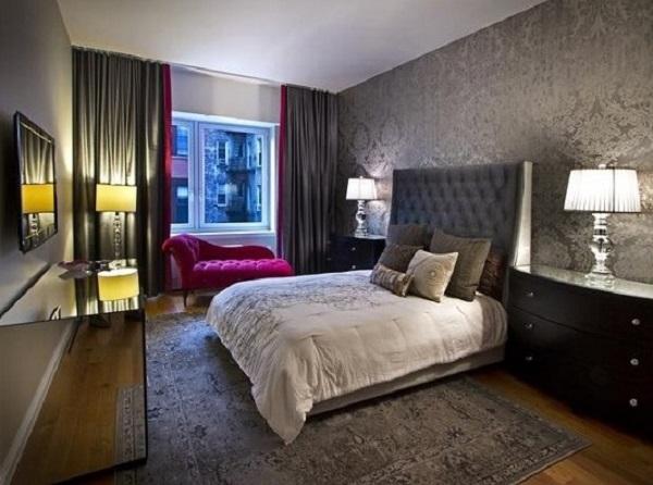 Black-grey color romantic bedroom design
