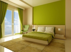 Green, Yellow color theme bedroom interior decor.