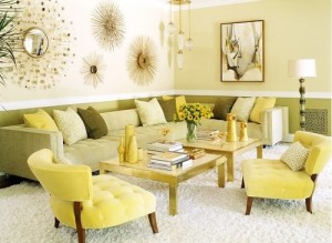 Green and yellow color sofas for living room.