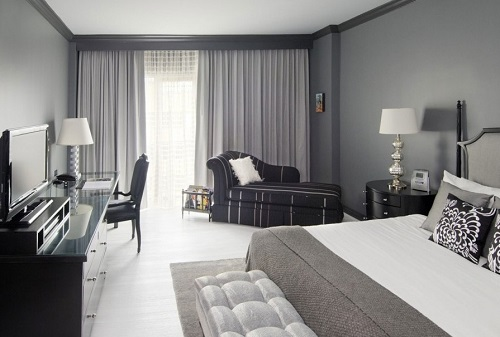 Grey Color schemes for bedroom design.