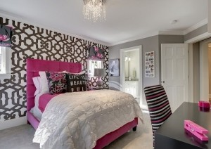 Grey and Pink color theme bedroom interior decor.