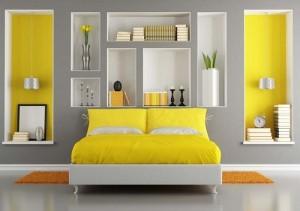Grey and Yellow color scheme bedroom design.