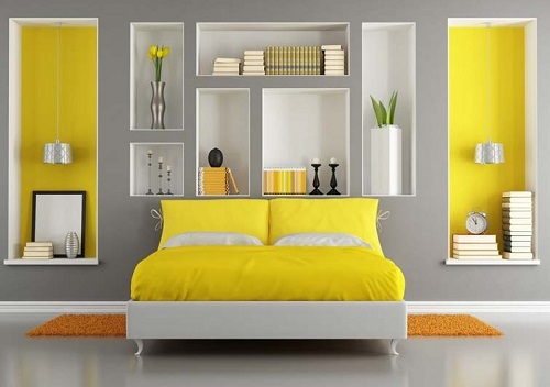 Grey color schemes for bedroom design for Yellow grey bedroom designs