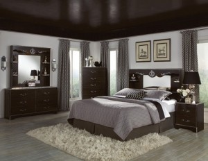 Grey and brown color bedroom design.