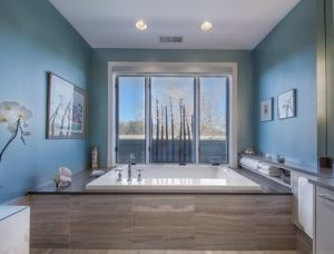 Luxury whirlpool bathroom decor.