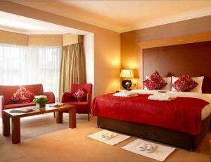 Maroon and Beige Color bedroom design.