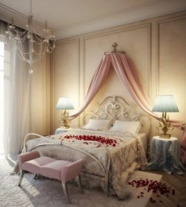Romantic bedroom designs with roses on the white bed