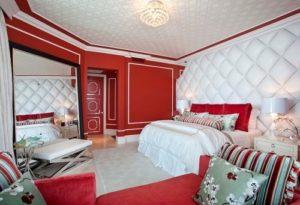 White-Red interior design for lovely romantic bedroom.