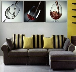 Wine lovers wall paper for living room design.