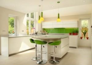 Yellow, Green kitchen interior design.