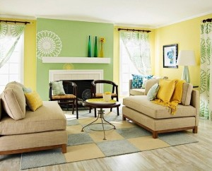 Yellow and green living room walls.