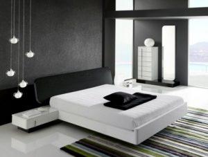 Beautiful white and black interior design of bedroom.