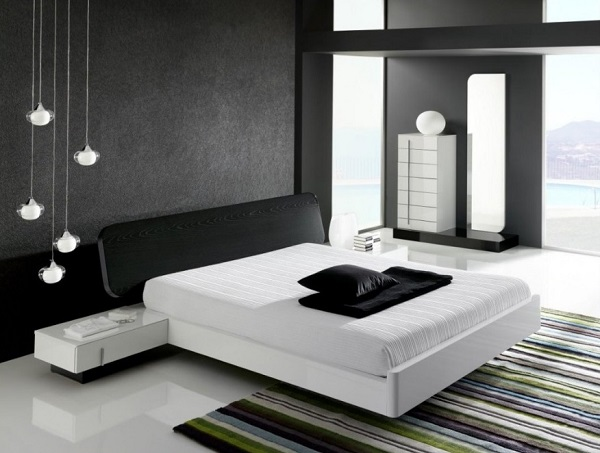 Beautiful white and black interior design of bedroom.