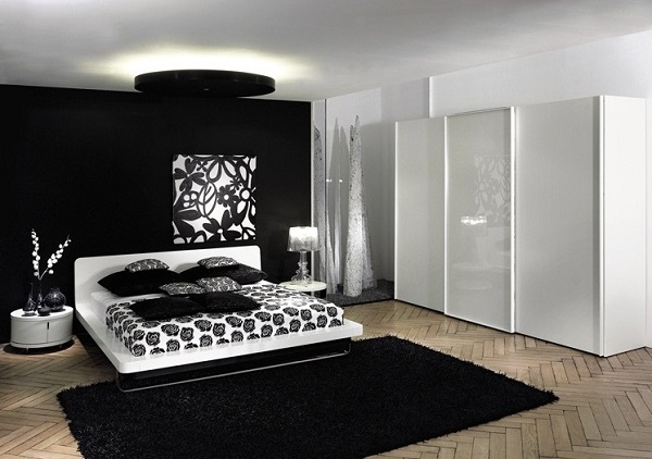 Black and white flower theme wall art bedroom idea.