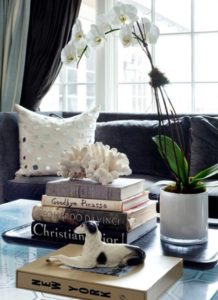 Books stack on coffee table
