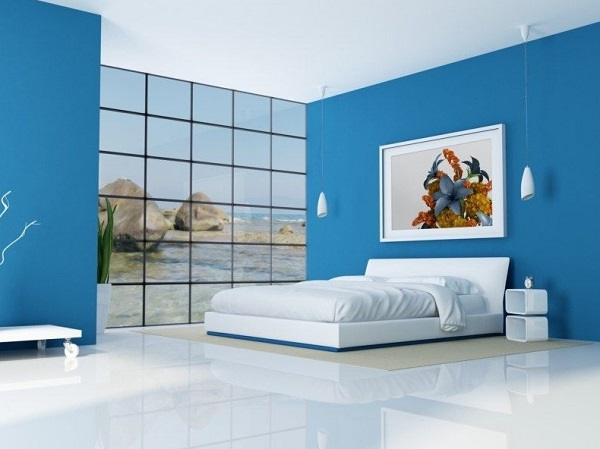 Bright blue color basement bedroom design idea.