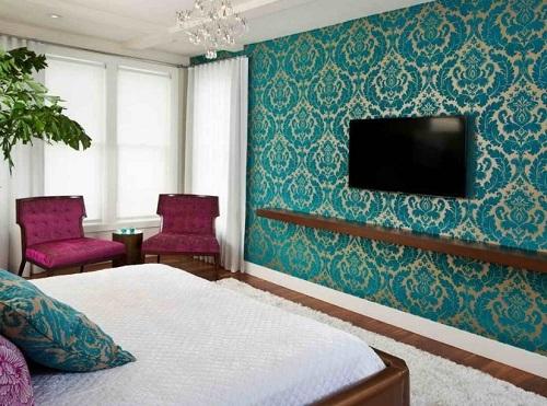 Bright colored fabrics for bedroom interior design.